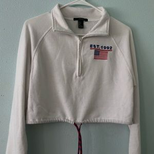 White cropped with tie half zip sweater